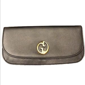 Gucci GG Logo Black Leather Clutch